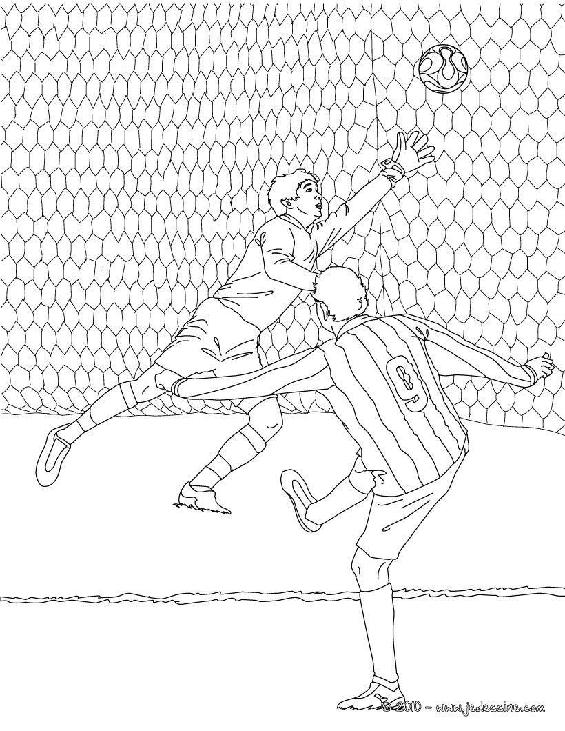 Coloriage Match De Football.Coloriage D Un Match De Foot Avec Un But Dans Les Cages Un Joli