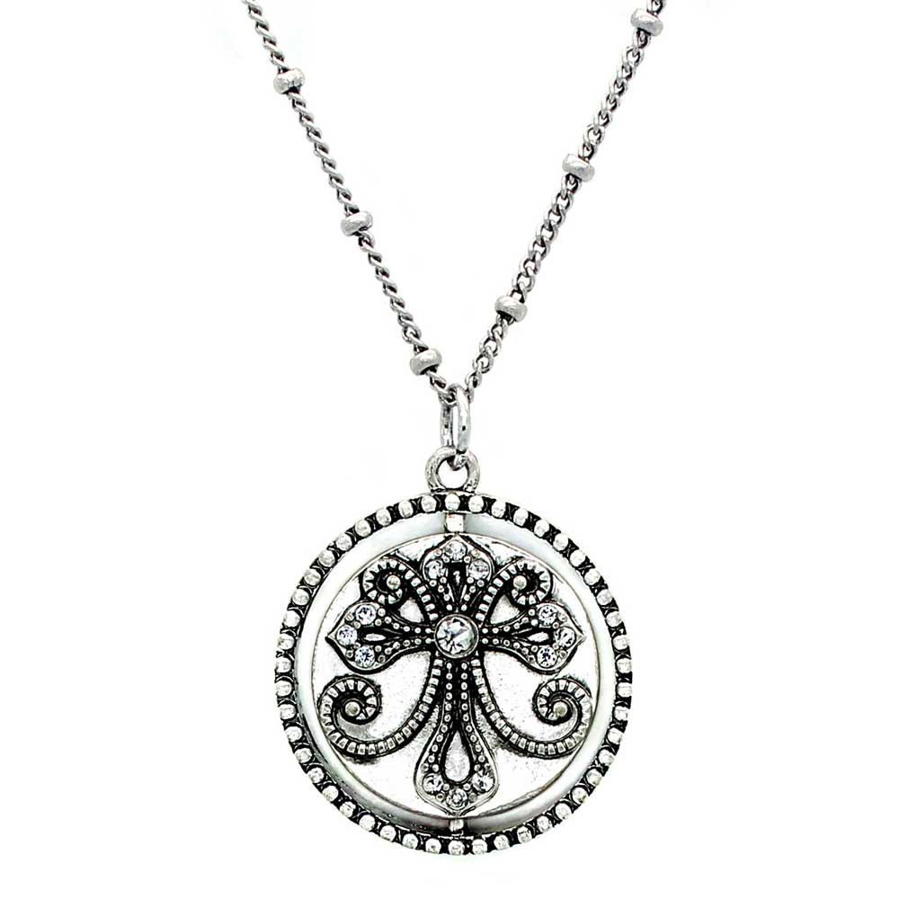 Spinning inspirational message necklace, Faith. Silver.
