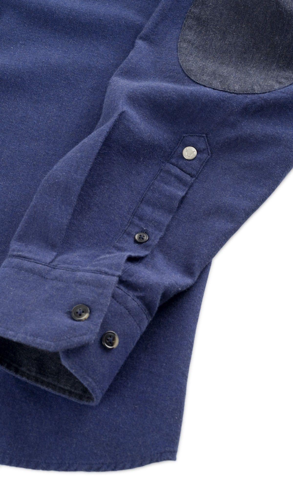 929a2def47337 Chemise Flanelle Bleue Homme avec coudières. Syle : Look Décontracté ...