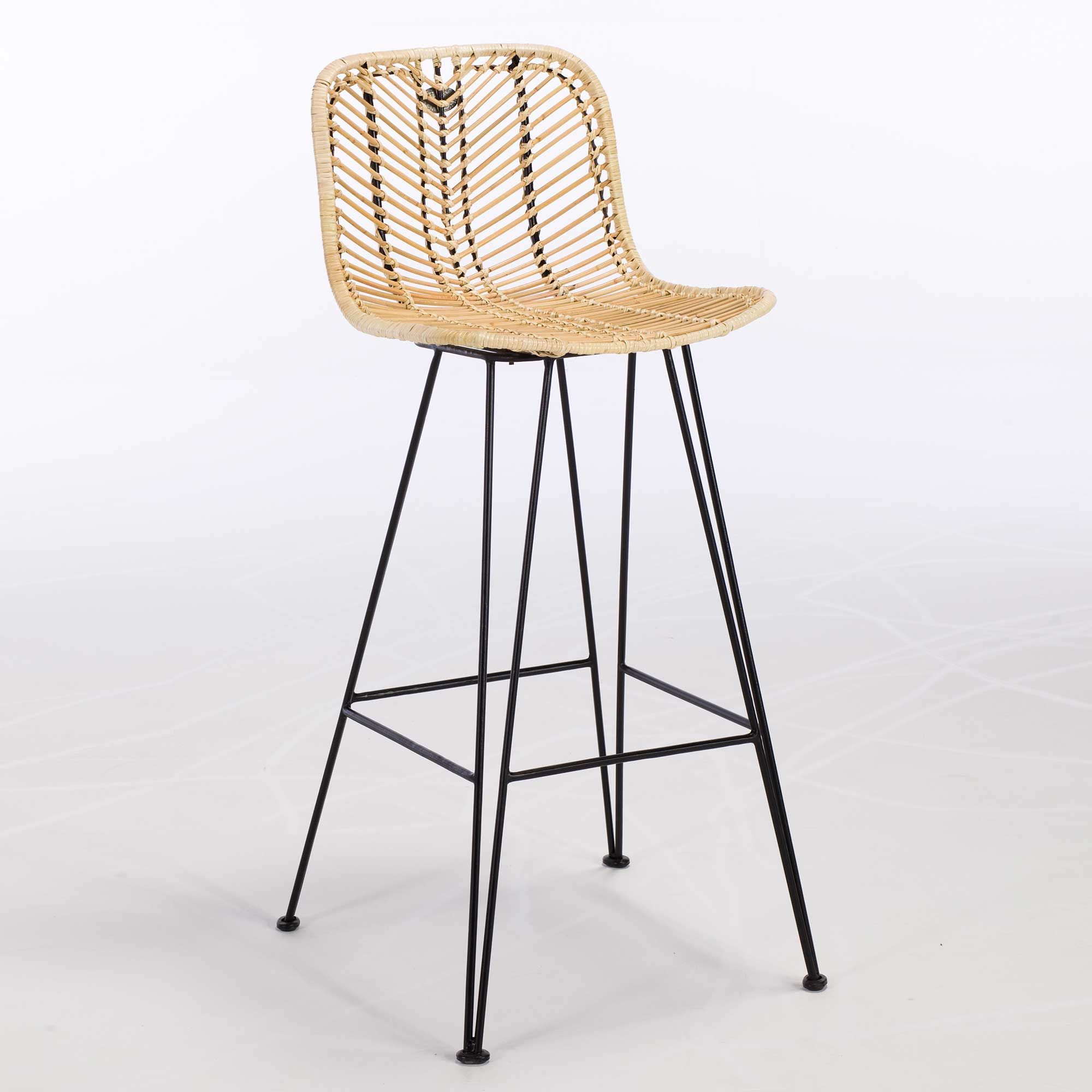 Castello Rattan Bar Stool, Natural and Black available online at ...