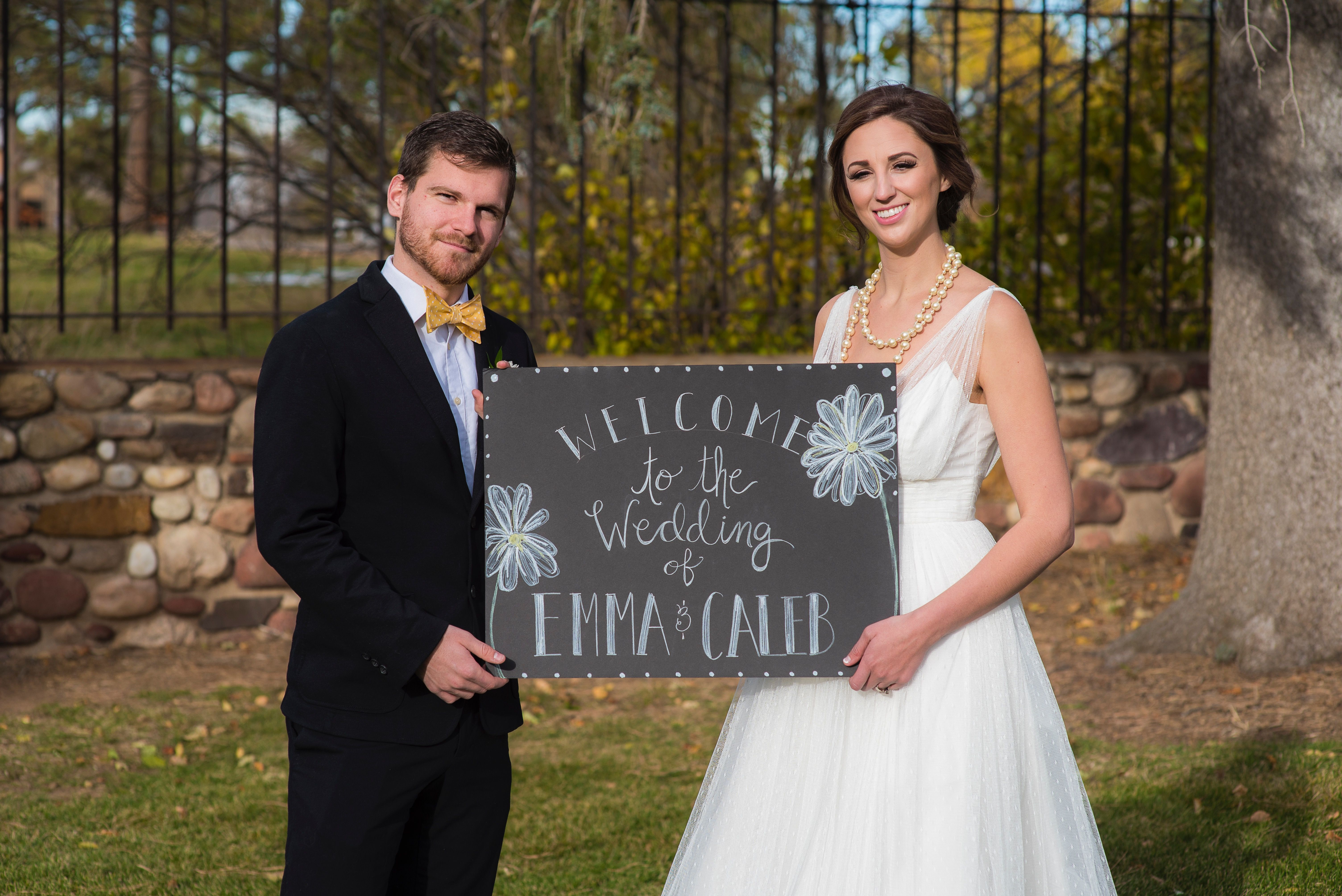 Yellow Wedding Daisies Bride and Grown Wedding Photography Yellow Bow Tie - Yellow Spring Wedding WTOO Wedding Gown Wedding Welcome Sign by: Poco Post Photo by: Modified PhotoGraphics PRESENTED BY WHITE DAISY EVENTS
