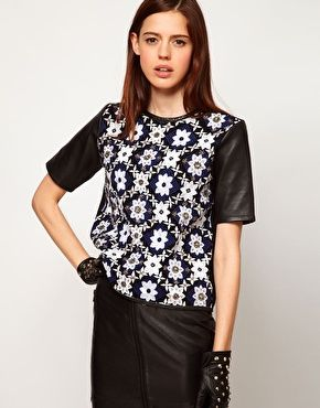 Enlarge ASOS Top with Leather Sleeves and Embellished Panel