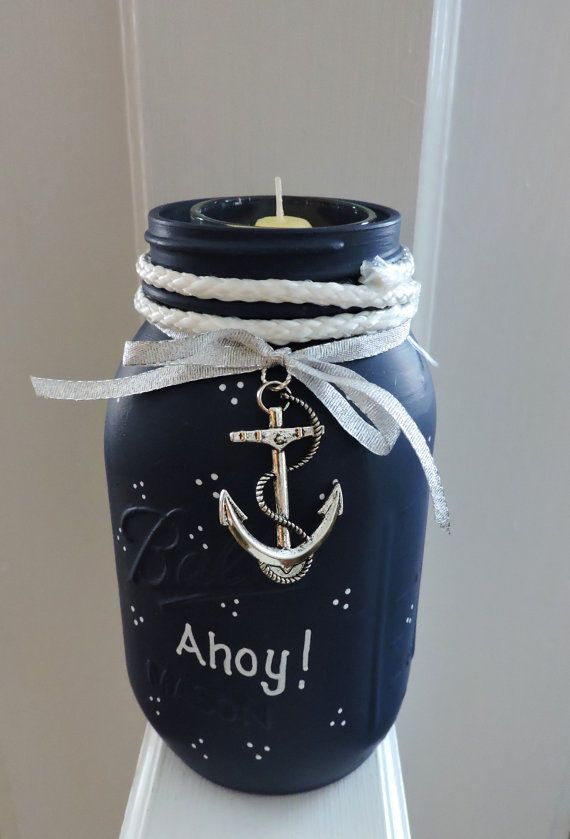 Nautical Mason Jar Candle Holder Beach Mason Jar Ahoy Mason Jar Navy Blue Mason Jar Candle Beach House Decor Bo Mason Jars Mason Jar Diy Mason Jar Organization