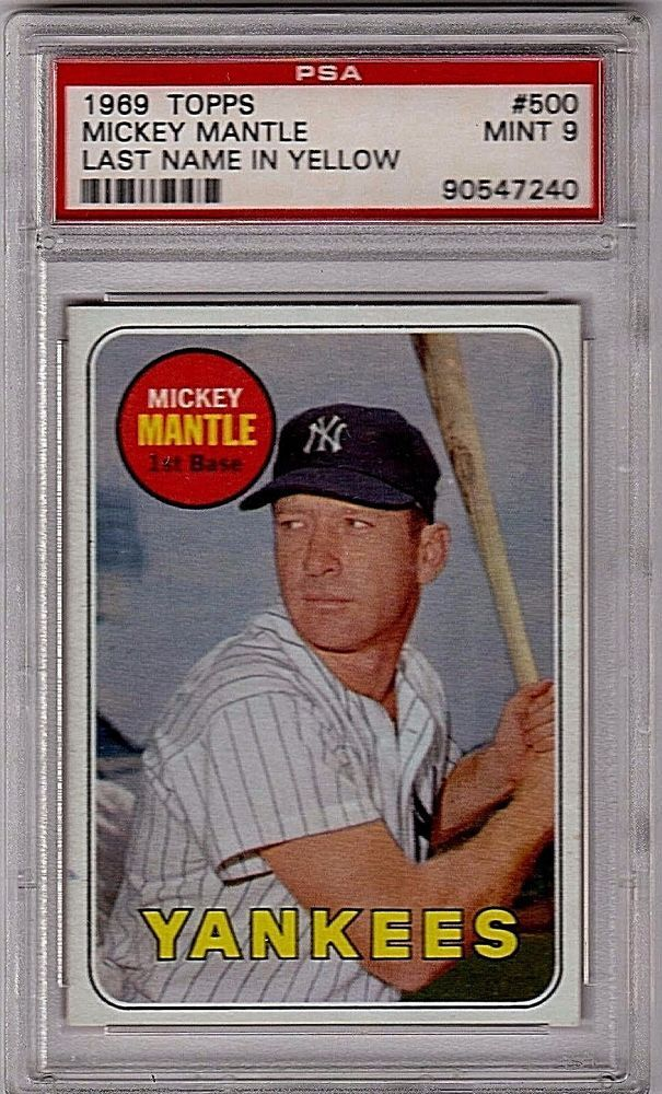 1969 Topps 500 Mickey Mantle Psa 9 Mint Sports Mem Cards Fan Shop Sports Trading Cards Baseball Ca Mickey Mantle Baseball Cards For Sale Baseball Cards