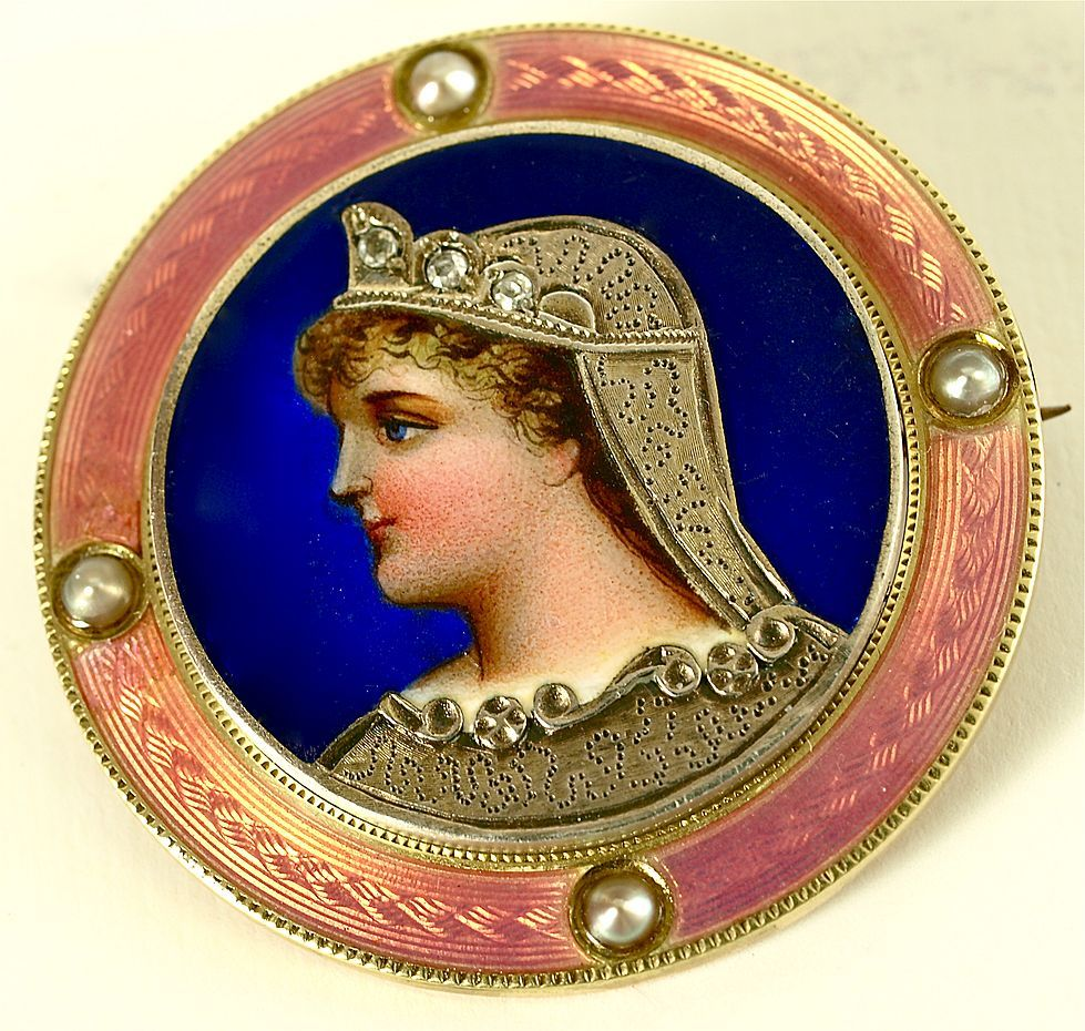 Art Nouveau enameled silver and gold brooch by Carter & Gough