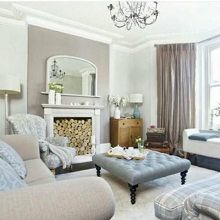 Navy Feature Wall And Taupe Living Room