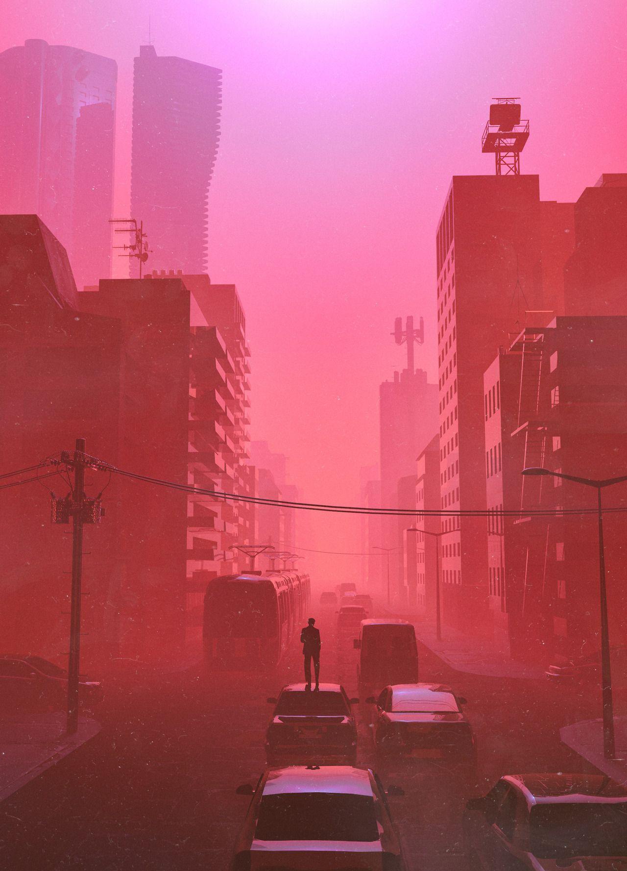 BEEPLE | MMNTO in 2019 | Vaporwave art, Red aesthetic, Photo art