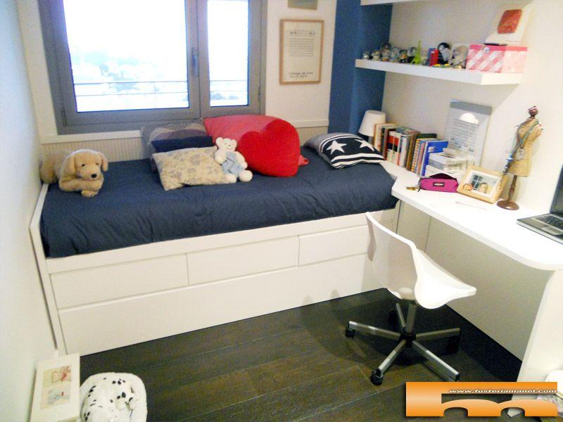 Habitacion lacada cama nido cajones escritorio cristina for Cama doble nina