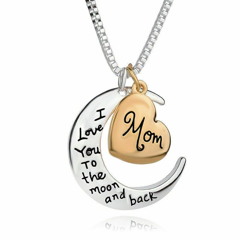 """/""""I LOVE YOU TO THE MOON AND BACK/"""" /""""Mom/"""" Gold Silver Women Necklace Charm Pendant"""