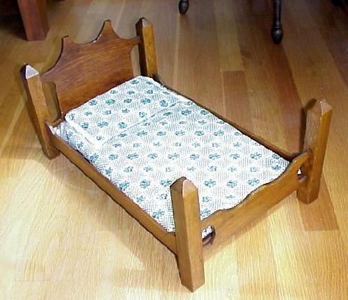 Hand Made Oak Doll Bed With Mattress & Pillow.  You can use it for your teddy bear also.