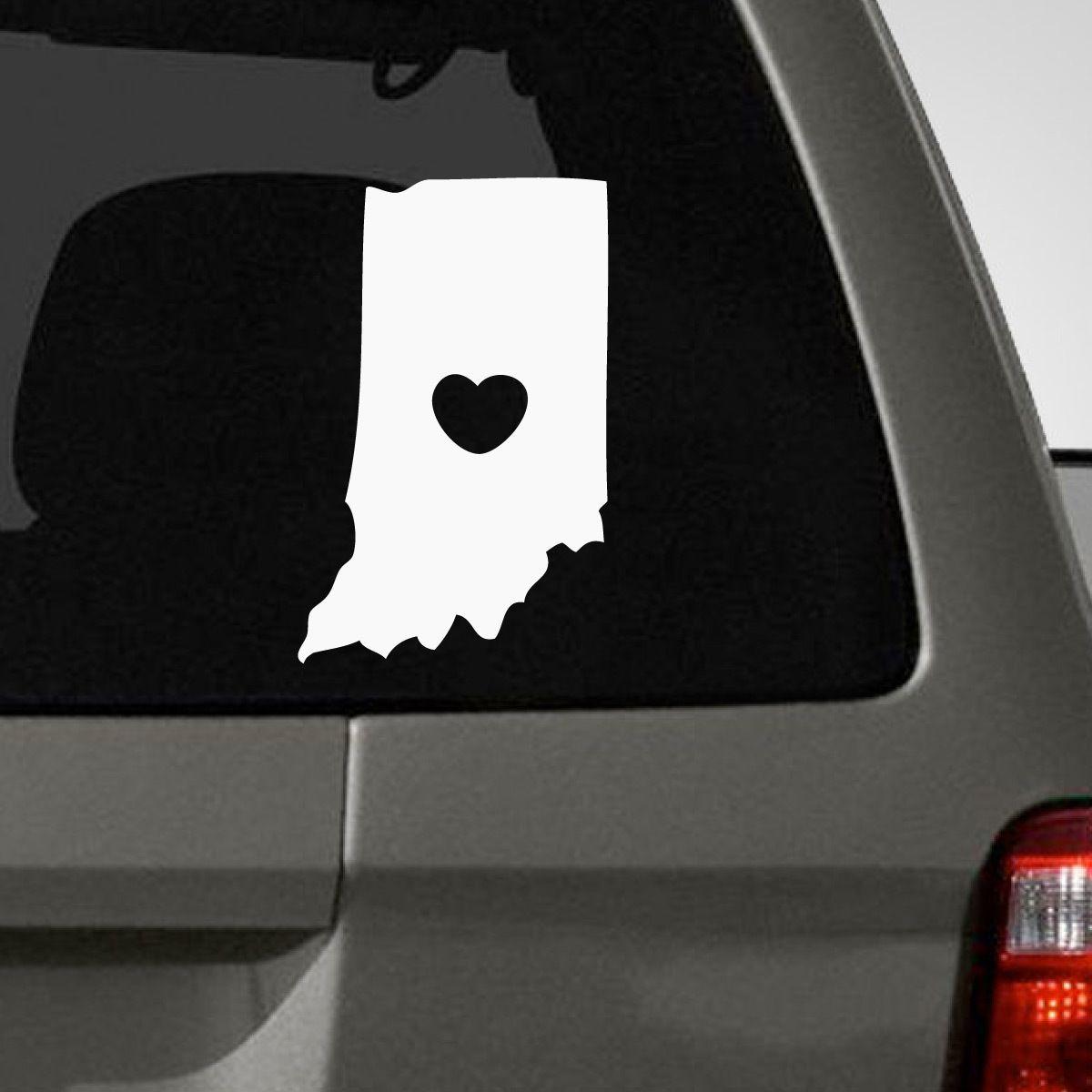 I Love Indiana Car Decal Car Decals Indiana Decals [ 1200 x 1200 Pixel ]