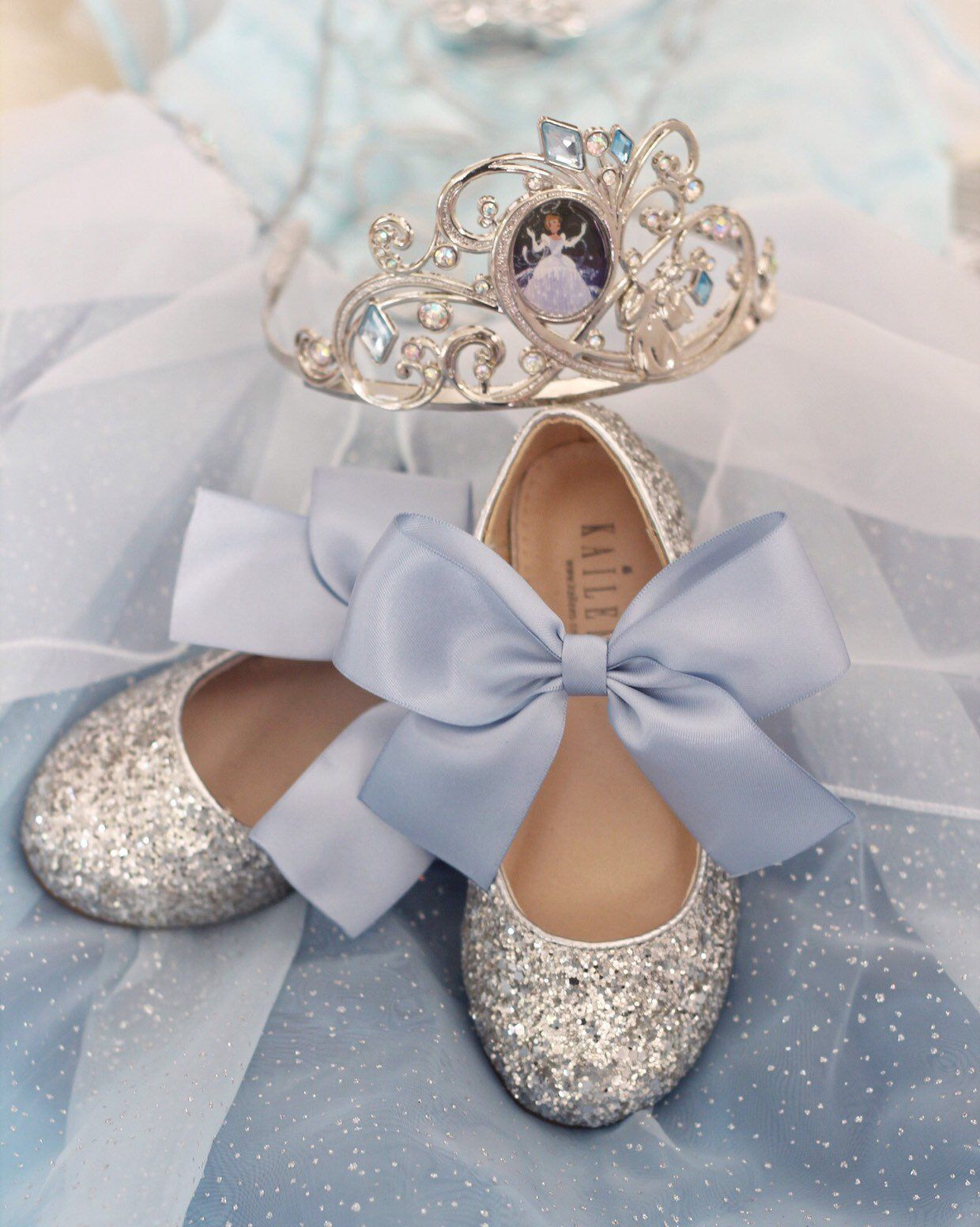 e045c9b03483 CINDERELLA Shoes - SILVER Rock Glitter mary-jane with Dusty Blue Satin  ribbon bow - Flower Girl Shoes