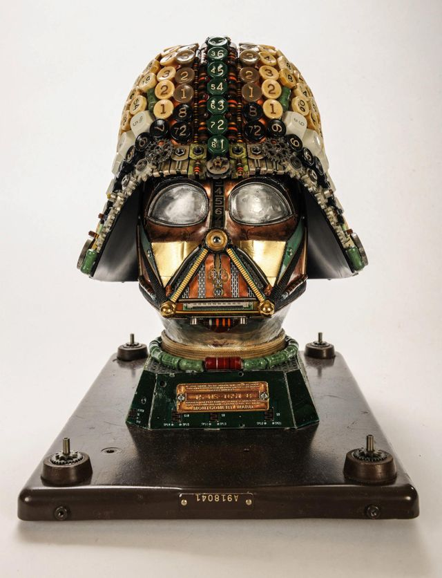 Darth Vader Helmet Made Using Recycled Typewriter Machine