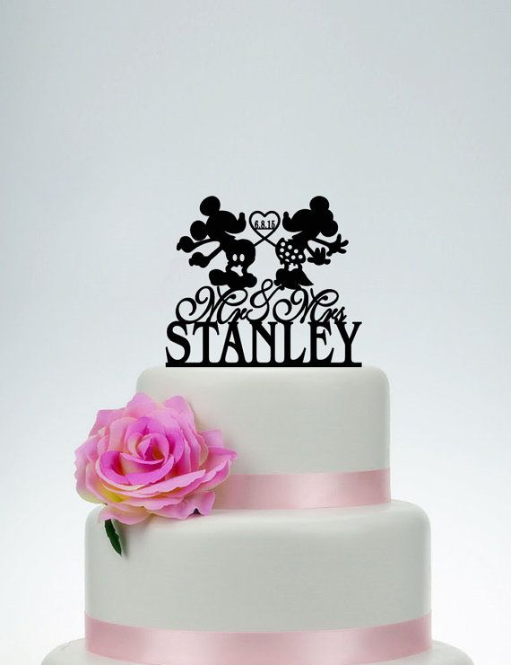 Custom Cake Topper,Wedding Cake Topper,Personalized Cake Topper,Mickey And  Minnie Cake