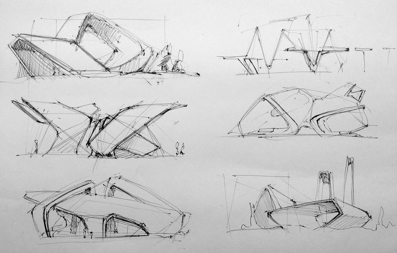 architectural sketch studies by  Mihail Ivantsov