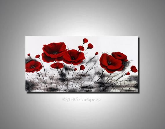 Mother S Day Sale Red Poppy Painting Acrylic Painting On Canvas Poppy Wall Art Flowers Painting Poppy Flower Abstract Art In 2020 Blumen Malen Acryl Kunst Und Malerei