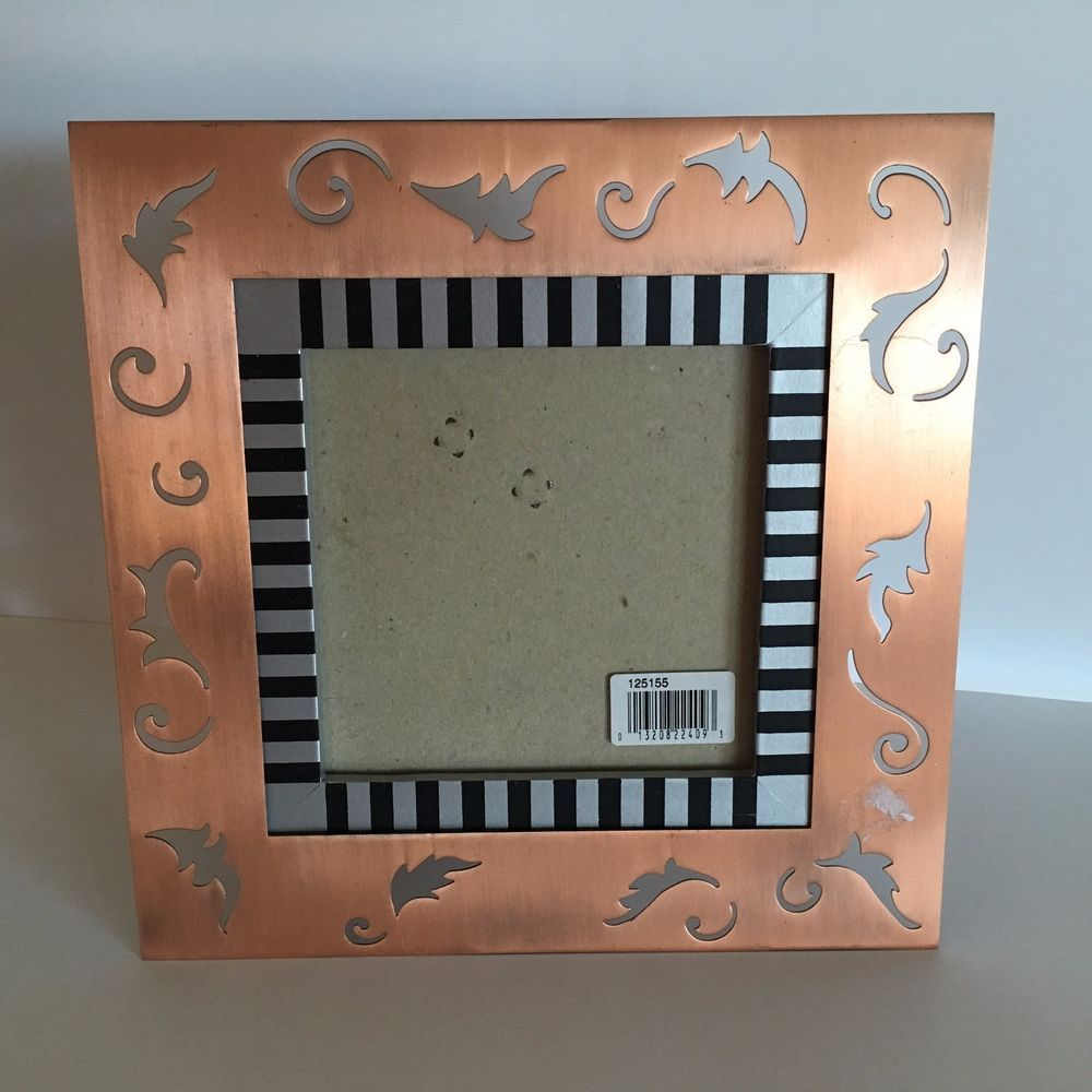Metal & Glass Picture Frame 4.5x4.5 Photo Fall Leaves Bronze Easel ...