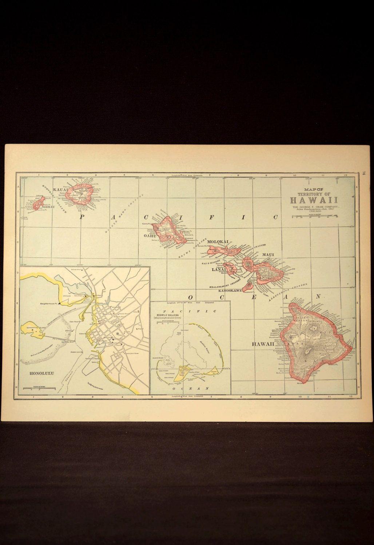 Hawaii Map Hawaii Hawaiian Islands Antique Original 1920s   Hawaiian ...
