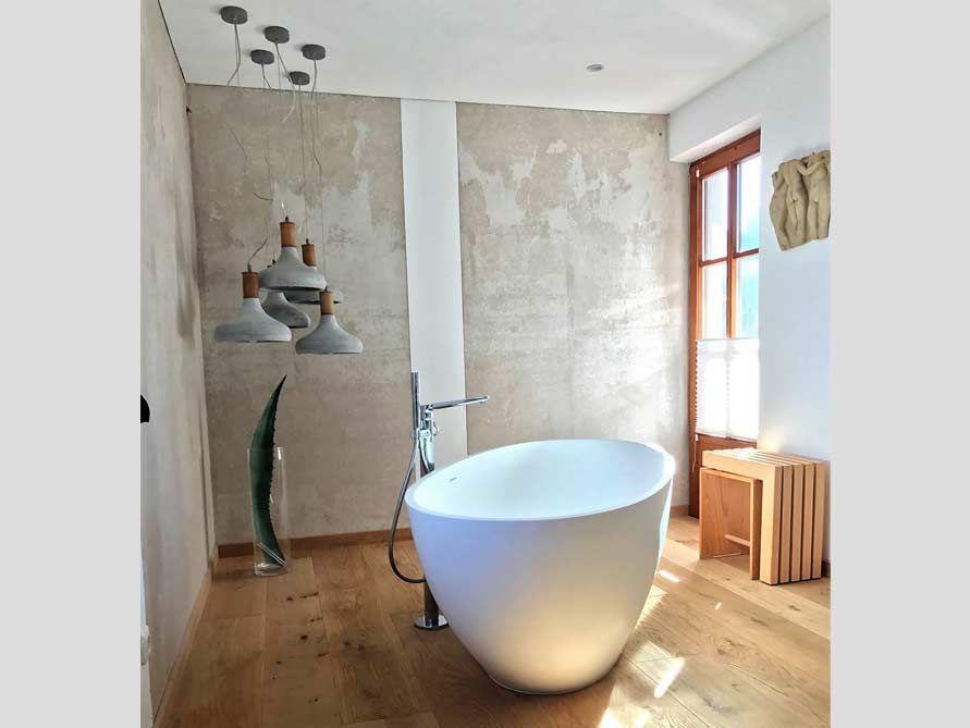 Freistehende Badewanne Piemont aus Mineralguss - Weiß matt oder glänzend