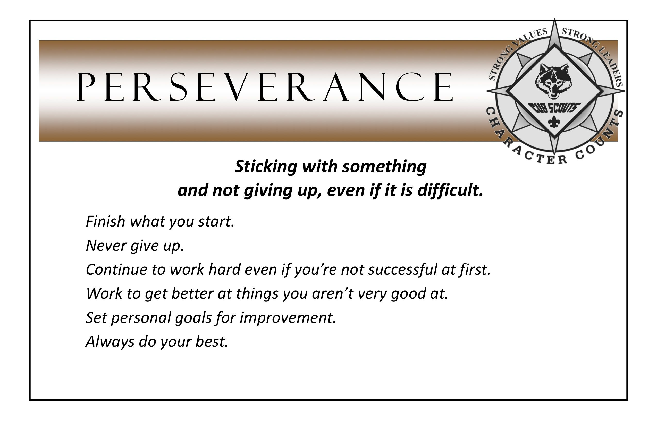 Perseverance Poster From Prairiepack165 Com Pdf With Images