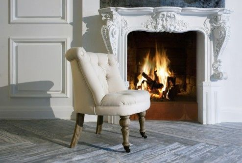 Decoration, Cool Classic Fireplace With Creative Mantel In White Color Infront Of Single Padded Vintage Chairs Design Ideas ~ Awesome Creative Fireplaces Warming Room Situation
