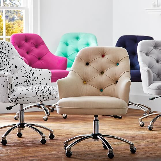 Perfect Favorite Tufted And Upholstered Rolling Desk Chair (we Bought Two Of The  Navy Ones).