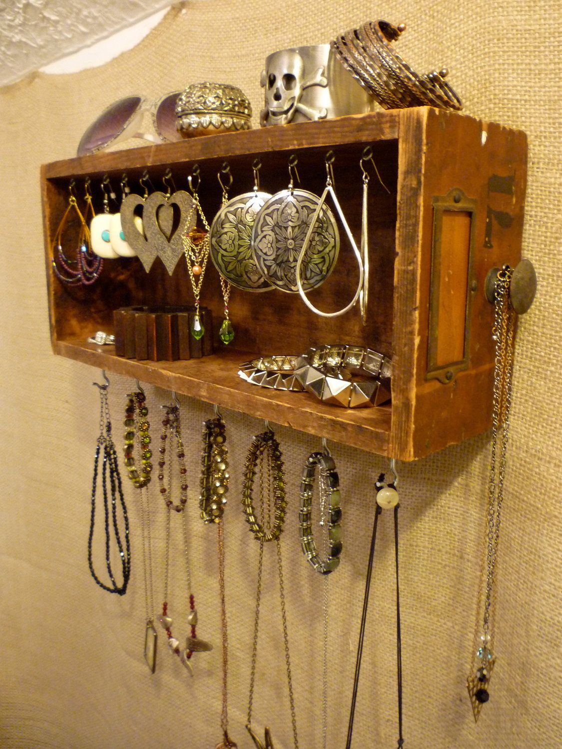 Upcycled Jewelry Organizing Display Wood Drawer 71 Vintage