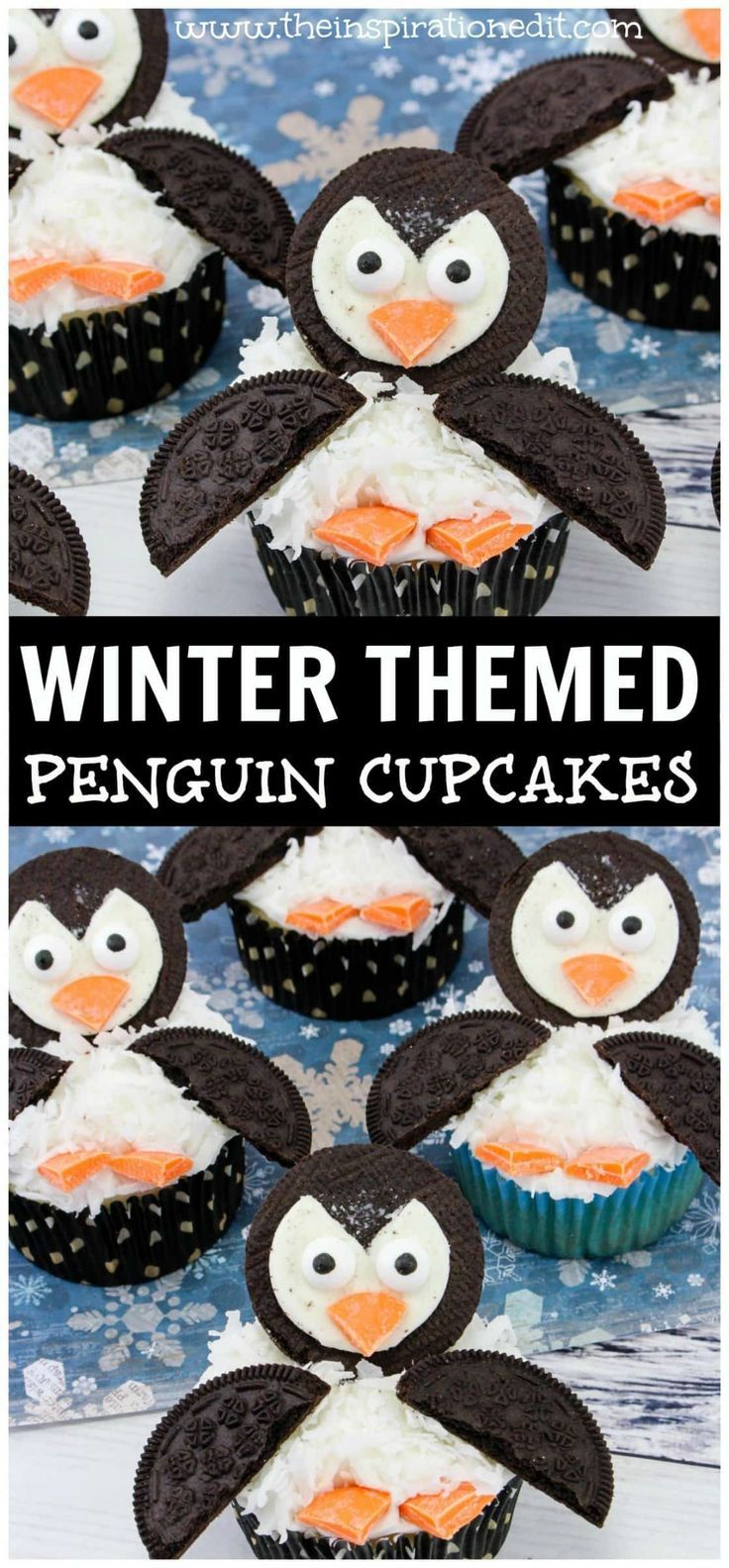 Penguin Cupcakes: A Party Food Idea Penguin Cupcakes: A Party Food Idea great for your Christmas party or for a winter themed treat. How to Make Christmas Tree Cupcakes - A Fun Christmas cupcake recipe and xmas party food