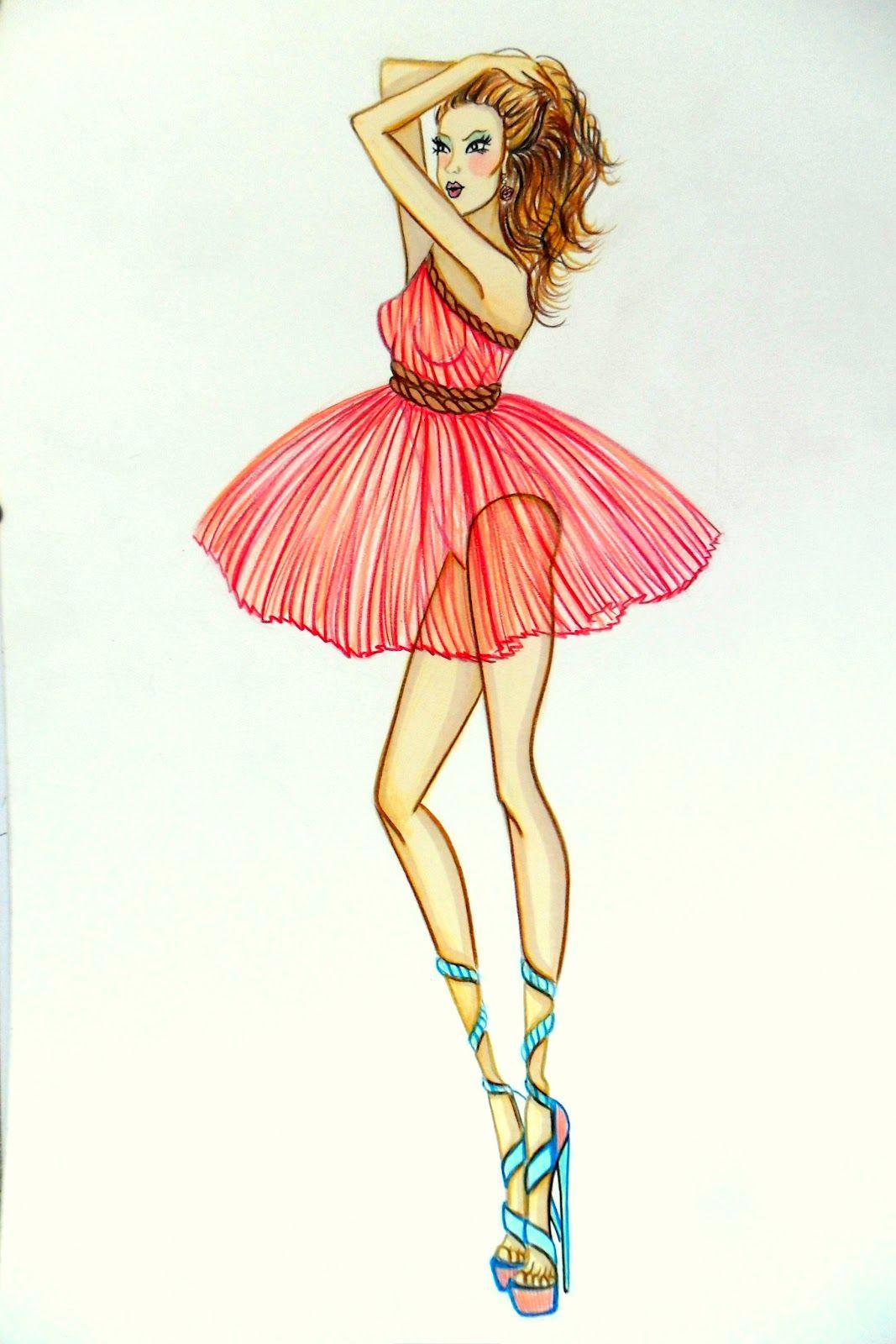 Short Dress Drawing : short, dress, drawing, Stellita, StaR:, COLLEZIONE, Primavera, Estate, Fashion, Sketches, Short, Dress, Shiffon, Plisse