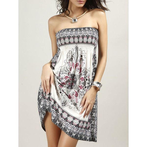 d896dbdcbad0 Smocked Bodice Strapless Shift Dress In Tribal Printed ($16) ❤ liked on Polyvore  featuring dresses, white tribal dress, white day dress, empire dress, ...
