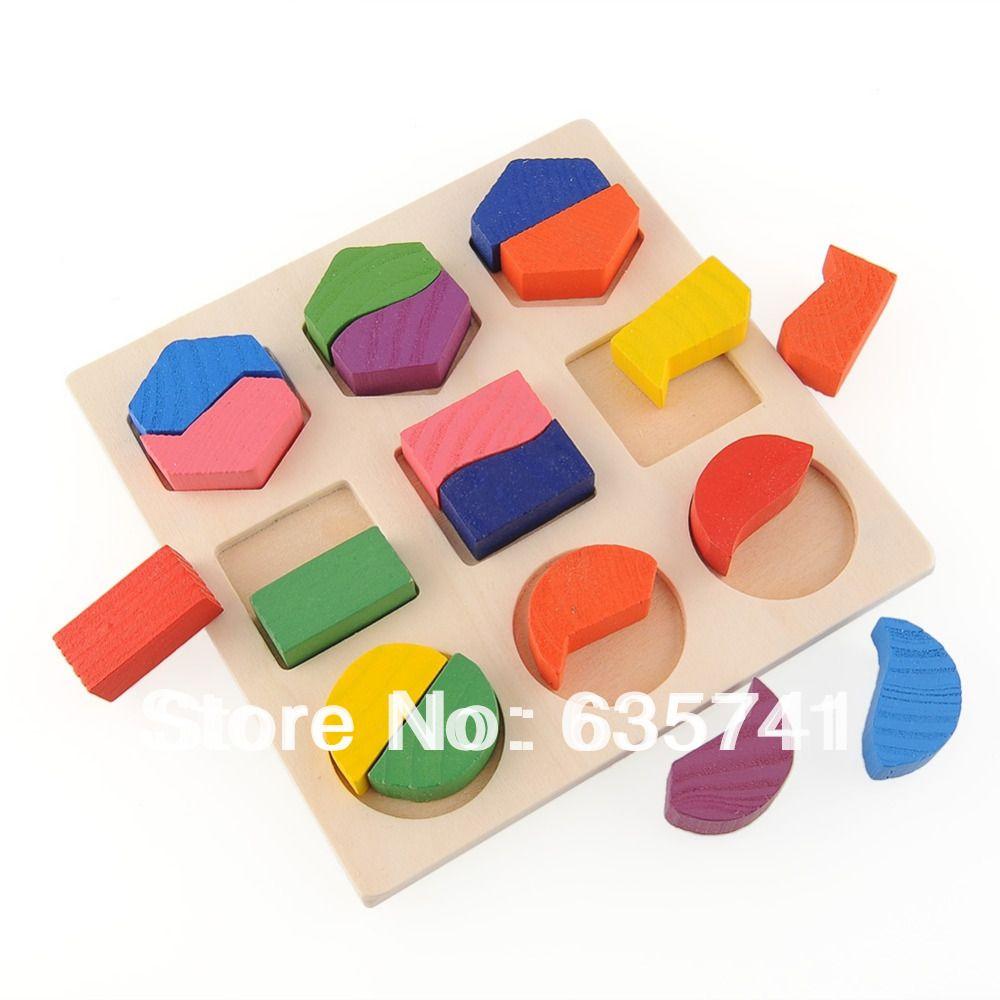 Wooden Toys For Pre School : Wood geometry block montessori baby preschool toy kids