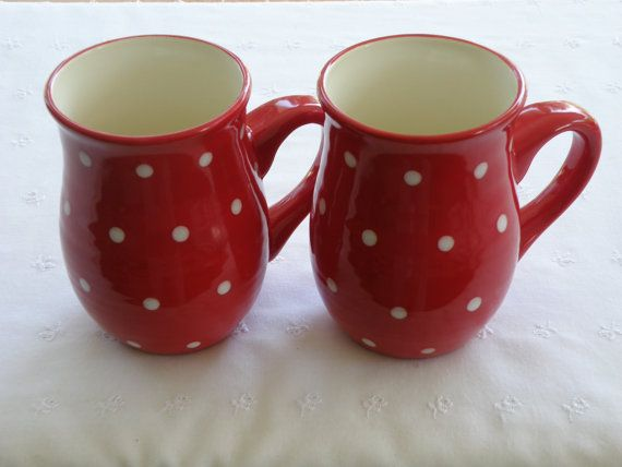 Tall Country Mugs - Red With White Polka Dots - Set of Two - USA ...