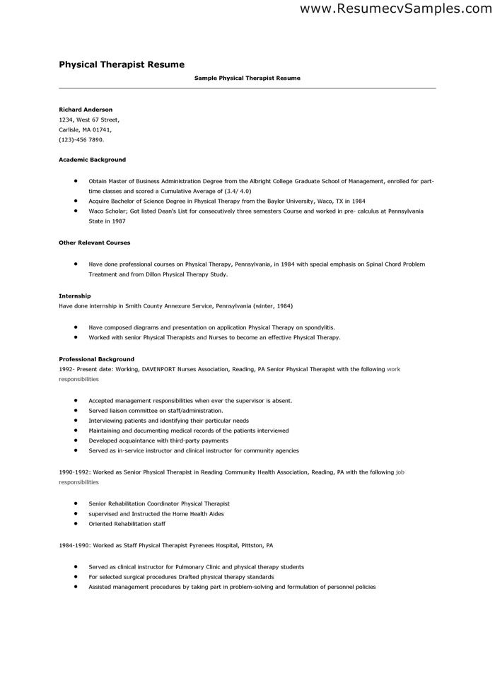 Pta Resume Resume Seeking Position Physical Therapist Assistant