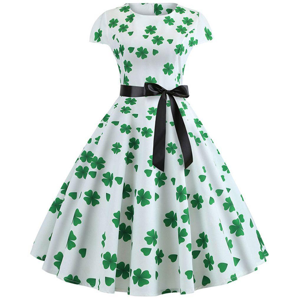 St Patrick S Day Women S Shamrock Evening Print Party Prom Swing Bow Dress Dress 209 Dress 209 Long Sleeve Print Dress White Floral Print Dress Vintage Party Dresses [ 1024 x 1024 Pixel ]