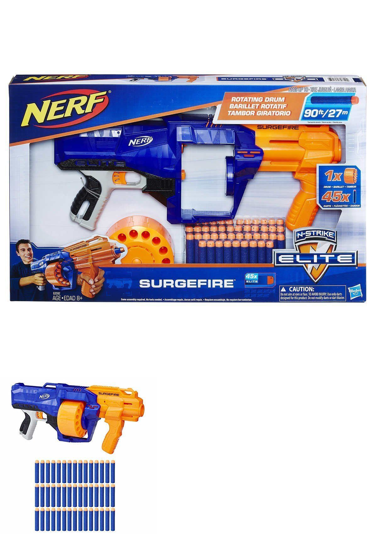 Super Blaster Nerf Style Rapid Fire Gun 40 Soft Darts Bullets Safety Glasses Toy