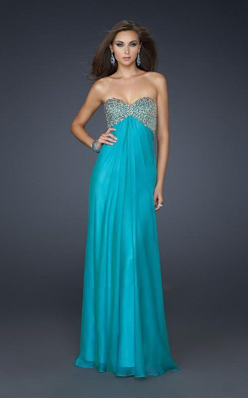 La Femme 17499 Peacock Beaded Long Sweetheart For Winter Formal Prom