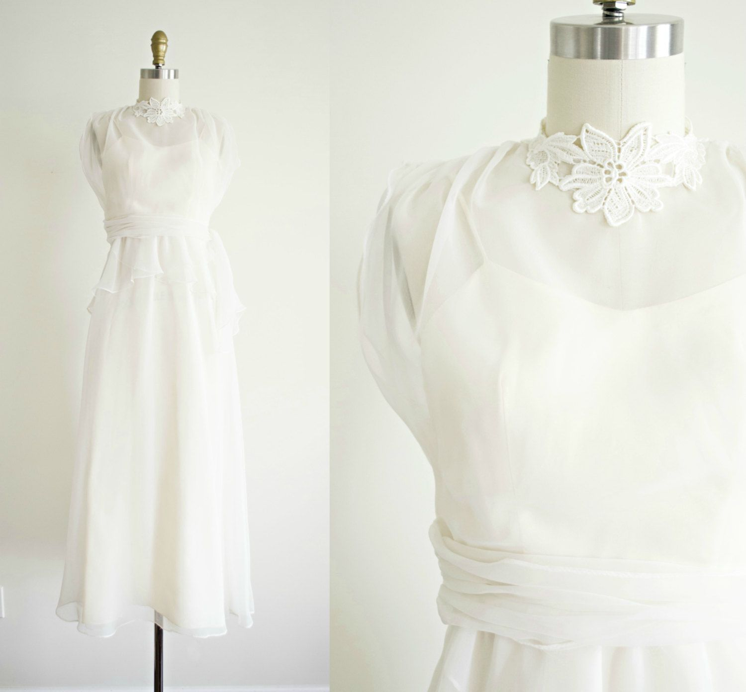 Vintage tea length bohemian wedding dress s white chiffon and