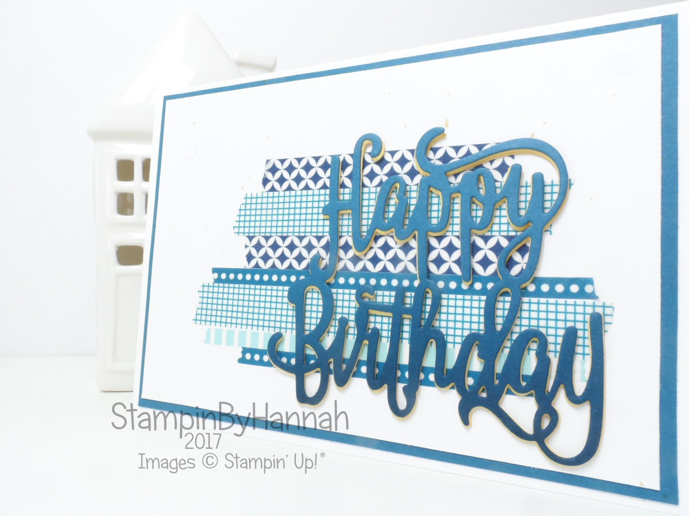 Pootles Papercraft Birthday Blog Hop August 2017 Boys Birthday Card Using  Happy Birthday Thinlit From Stampin