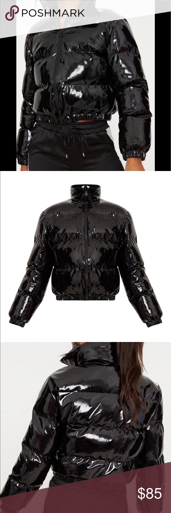 Cropped Shiny Pvc Cropped Puffer Size 2 Very Thick Black Pvc Shiny Cropped Zip Front Puffer Jacket Nwt Prettyl Clothes Design Women Shopping Jackets For Women [ 1740 x 580 Pixel ]