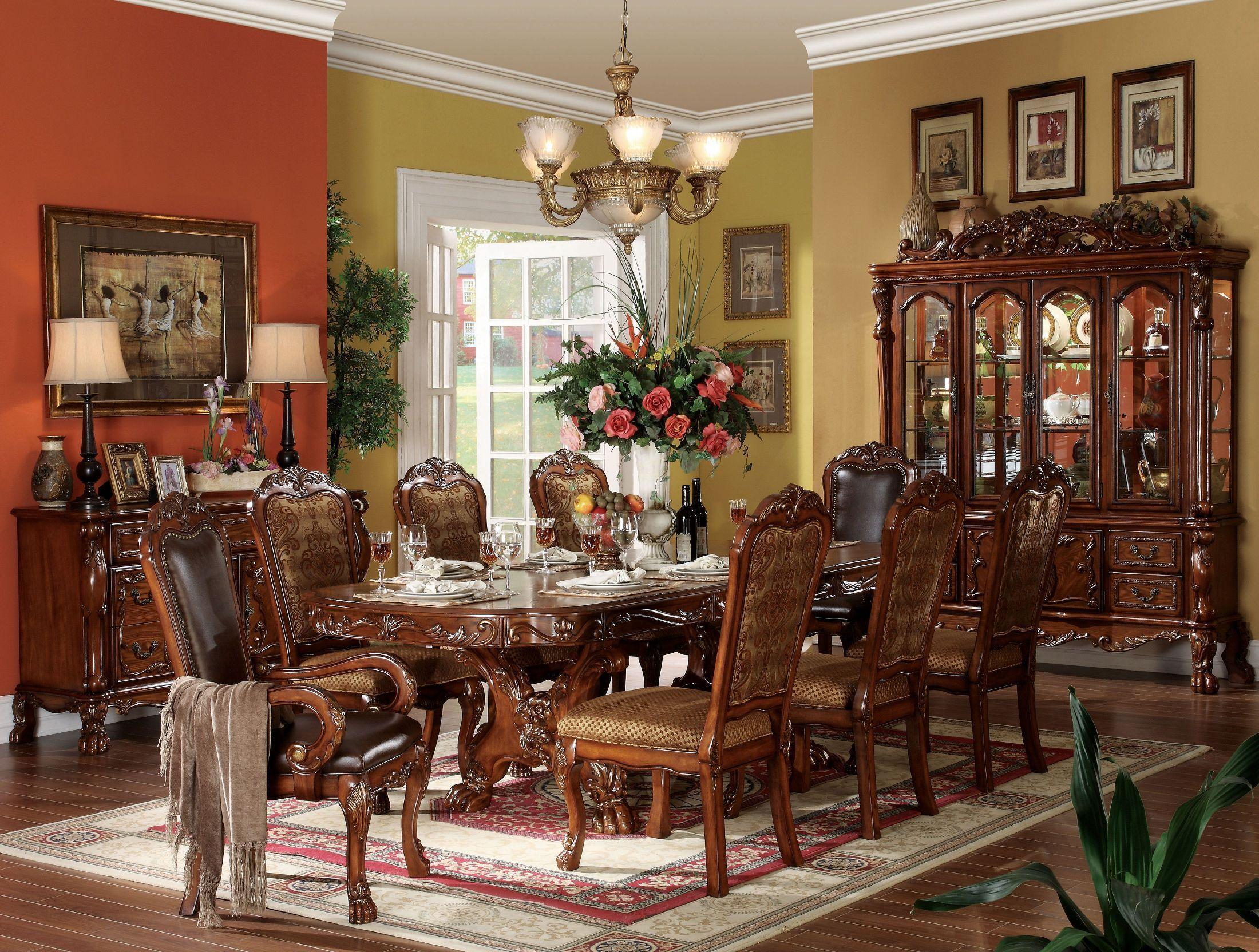 Dresden Cherry Oak Double Pedestal Extendable Dining Room