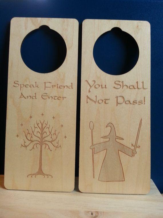 "Laser Engraved Wooden Fantasy ""Do Not Disturb""/""Welcome"" Doorknob Hanger on Etsy, $9.50"
