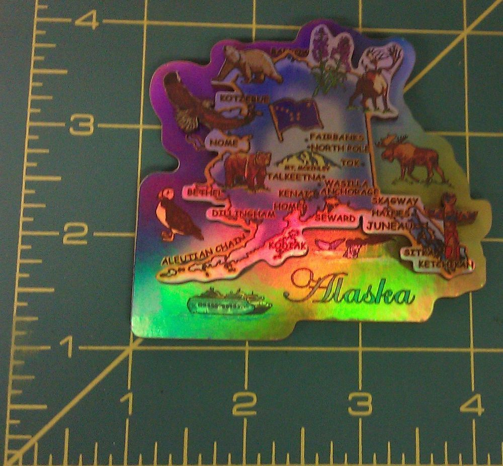Alaskan Map Aurora Souvenir Magnet beautiful Alaska souvenir Alaska