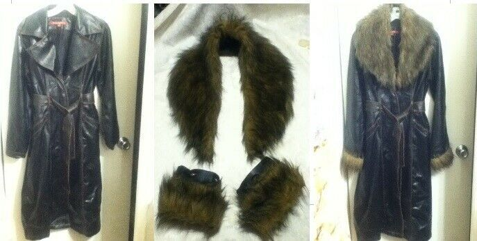 Art Crafts FABRIC Removable Vegan Fur Collar Cuffs Faux Leather Coat Long Brown