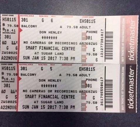 nice Don Henley \/ 2 concert tickets \/ Smart Financial Center - concert ticket layout
