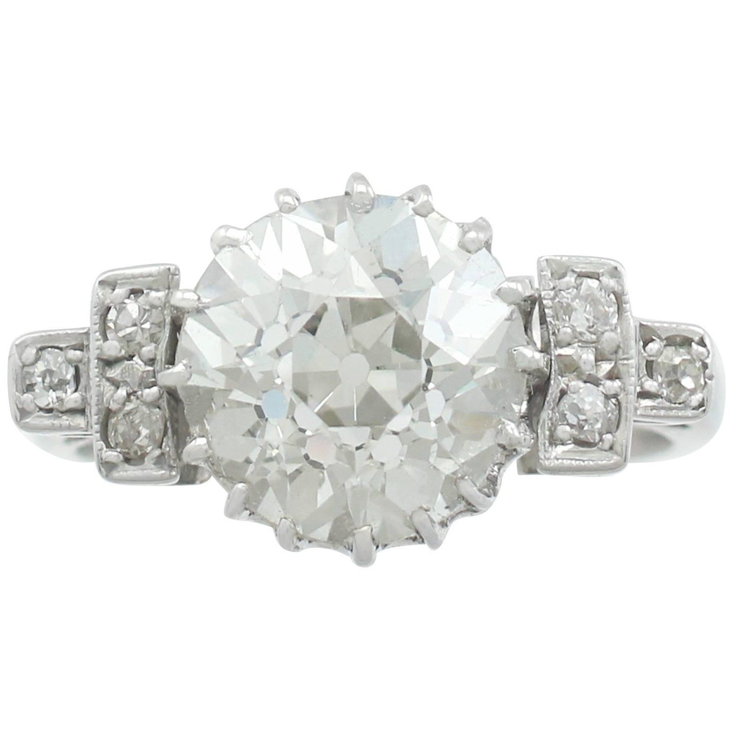 1940s 3 00 Carat Diamond And White Gold Cocktail Ring White Gold Dress Ring Unique Diamond Rings Ladies Diamond Rings