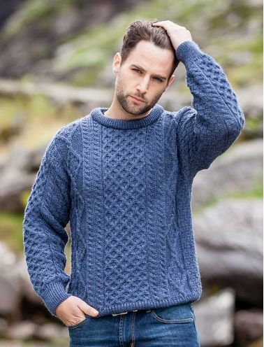 Lightweight Traditional Aran Mens Wool Sweater | Strickideen und ...