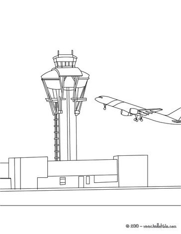 Plane Coloring Pages Control Tower At The Airport Coloring Pages Color Coloring For Kids