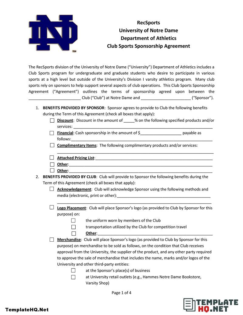 Sports Sponsorship Agreement Form Sponsorship Letter Sponsorship Agreement