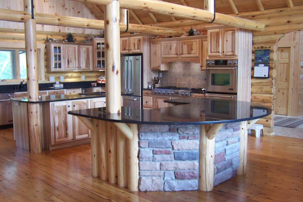 Log cabin kitchen most creative log home kitchen the for Small log cabin kitchens