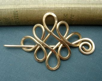Celtic Double Crossed Loops Brass Shawl Pin by nicholasandfelice